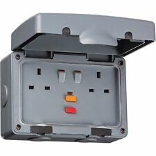 Knightsbridge 2 Gang 13 Amp Double Outdoor RCD Twin Electrical Plug Socket IP66