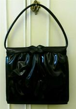 Vintage Early 1960's Rockabilly Black Patent Ladylike Hand Dolly Bag PanAm Girls