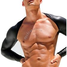Men Long Sleeve Faux Leather Fitness Jacket Arm Shrug Cloth Motorcycle Costume L