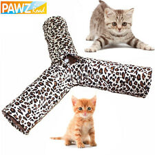 Pet Cat Tunnels Toy 3 Ways Leopard Crinkle Tunnel Cat Rabbit Collapsible Tunnels