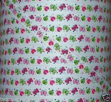 """5 yds 3/8"""" M2MG LADY BUG BUGS BUTTERFLY GROSGRAIN RIBBON 4 BOWS"""