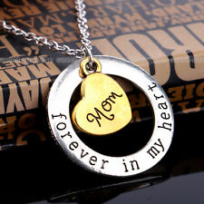 Family Forever In My Heart Pendant Round Necklace Jewelry Charm Gift for Mom