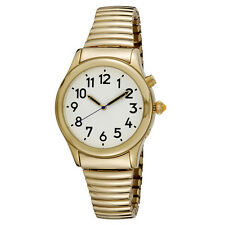 Man's Gold Tone Talking Watch White Face - Choice of Voice - English