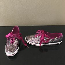 Kate Spade Keds Glitter Fashion Sneakers Shoes Lace Up Pink Size 7 US