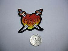 Flaming Heart Sword Logo IRON/SEW ON EMBROIDERED PATCH NEW [Rockabilly]