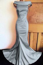 Jane Norman Sexy Satin Dress Size 8 - 6 Maxi Gem Ballgown Bodycon Silver Party