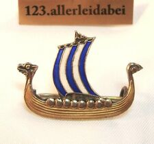 Wikinger Brosche Schiff Emaille Silber Emaile old enamel / AO 322