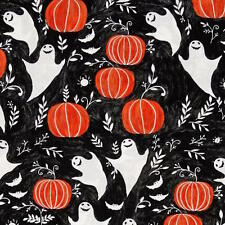 By 1/2 Yard Windham Mischief Night Ghosts Pumpkins ~ Black Halloween Fabric