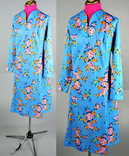 VTG MOD GOGO Scooter Space Age Twiggy Orange BLUE floral shift dress L XL