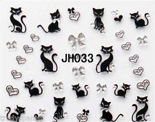 Halloween Nail Art Stickers Decals Black Cats Silver Pussy Cat Hearts Bows JH33