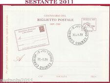 ITALIA FDC CAVALLINO CENTENARIO DEL BIGLIETTO POSTALE 1989 ANNULLO TORINO U424
