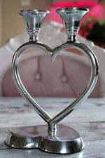 Silver French Metal Candelabra Heart Centrepiece Art Deco Candle Holder Stick