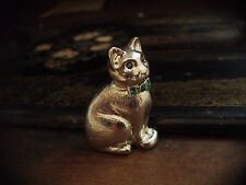 Vintage Silver Cat Brooch  Emerald Green Crystal Collar & Blue Crystal Eyes