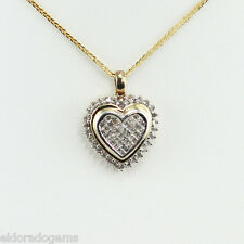 """1.25 CT. DIAMOND HEART PENDANT SOLID 14K WHITE YELLOW GOLD 16"""" NECKLACE ITALY"""