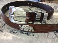 United States Of America Mens Brown Lizard Belt with USA Conchos Size 28