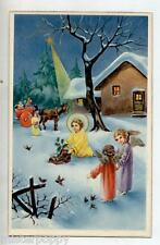 Angeli Bambini Neve Gesù Stella Scarpa Presepe Natale Child Angels PC Circa 1930