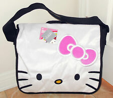 NWT HELLO KITTY FACE PLUSH WHITE SCHOOL MESSENGER BAG