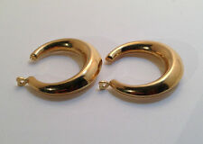 14k Yellow Gold Large Puff Hoop Diamond Enhancer Earrings for use with studs