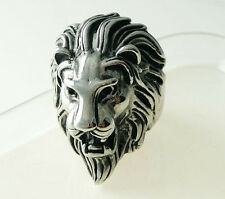 Men's PUNK gothic silver stainless steel lion king party band charm ring size 10