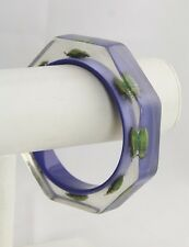 ESTATE Jewelry KOLOS DESIGN OCTAGONAL EXOTIC INSECT PURPLE CLEAR LUCITE BRACELET