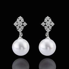 White Gold Pearl Zirconia Drop Stud Earrings L76