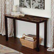 Wood Console Table Faux Marble Top Sofa Hall Entry Espresso Finish Furniture New