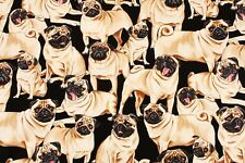 Pug Dog Fabric George For Timeless Treasures By the Yard