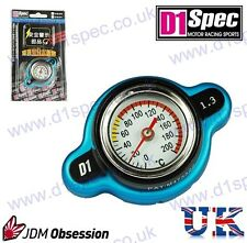 D1 SPEC RACING RADIATOR CAP 1.3kg/cm WITH TEMPERATURE GAUGE BLUE SMALL HEAD JDM
