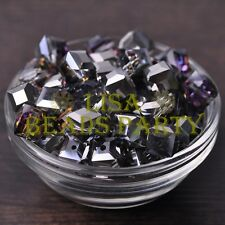 Hot 10pcs 10mm Cube Square Crystal Glass Loose Spacer Beads Silver Colorful