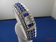 Vintage XANADU quartz Japan Movement Royal Blue/clear rhinestone Bracelet Watch
