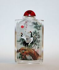 Estate Chinese Snuff Bottle Reversal Painted Cranes Calligraphy Cut Crystal #1