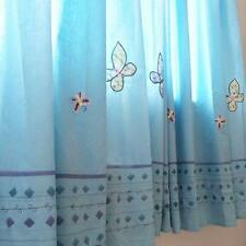 Lovely Applique Butterfly Sequin Bead Hand Embroidery Blue Shower Curtain