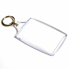 100 BLANK CLEAR EXTRA LARGE KEYRING'S 70mm x 45mm 70 45