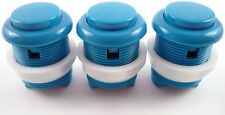 3 x 28mm Round Convex Curved Arcade Push Buttons & Microswitches (Blue) - MAME