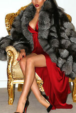 ELEGANT REAL SILVER SAGA FOX GENUINE SILK FUR CAPE WRAP SHAWL PONCHO COAT LUXE!
