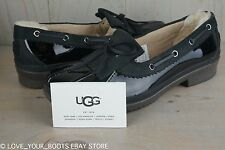 UGG HAYLIE BLACK PATENT  LEATHER DUCK SHOE LOAFER WOMENS  RAIN SHOES, US 8 NIB