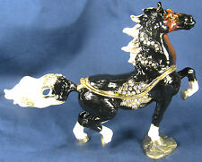 Black Horse with White Tail & Mane Jeweled Pewter Trinket or Jewelry Box