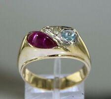 Cabochon Ruby Aquamarine Diamond 14k Yellow Gold Ring Size 9 (7.45 grams)
