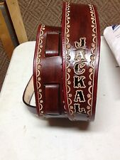 """CUSTOM HANDMADE LEATHER DOBRO STRAP PERSONALIZED WITH YOUR NAME 2 1/2"""" Wide"""
