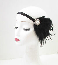 Black Silver Pearl Feather Headpiece Flapper 1920s Great Gatsby Headband Vtg 31
