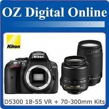 New NIKON D5300 18-55 VR II+70-300mm Twin Kits+16GB+Gift 24MP DSLR 1 Year Au Wty