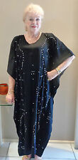 Long Kaftan Dress Classic Boho Embroidered & Sequined Small Size 8-14 New