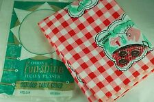 Vintage Retro 50's 60's Plastic Picnic Table Cloth Red Check Pattern Mid Century