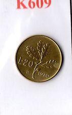 K609 Moneta Coin ITALIA Repubblica Italiana 20 Lire 1970 Ramo di Quercia