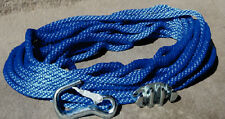 "Heavy Duty Anchor Line Rope 3/8"" x 50' with Cleat & Snap Hook Blue"