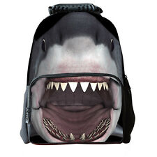 3D Grey Shark School Bag Travel Hiking Outdoor Backpack Men Women Shoulder  L