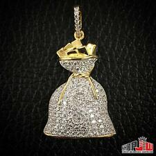 Mens Gold Finish .925 Silver Iced Out Money Bag Dollar Sign Symbol $ Pendant New
