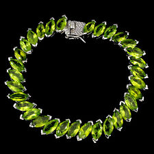 Sterling Silver 925 Genuine Natural Marquise Peridot Tennis Bracelet 7.5 Inch