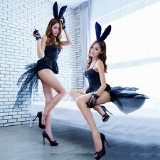 Sexy Adult Black Rabbit Bunny Halloween Party Cosplay Costume Teddy Fancy Dress