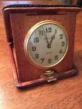 1926 Waltham 8 Day Travel Clock With Original Caiman Alligator Case Watch Runs